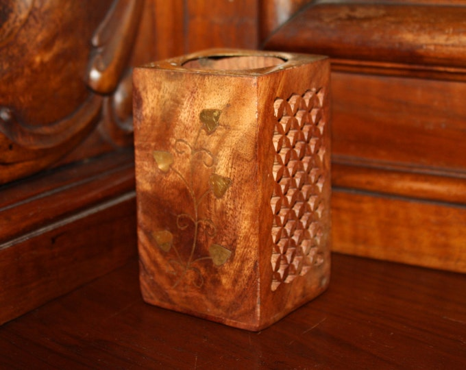Beautiful Handcrafted Wooden Pencil Holder with Inlaid Brass & Carved Decorations