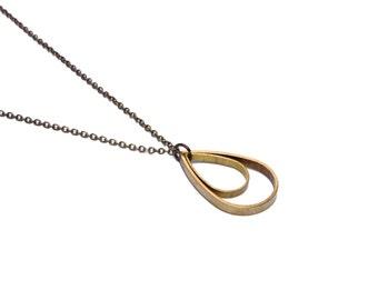 Double Teardrop Necklace - Raindrop Brass Golden Tear Drop Rain Drop Simple Geometric Pendant Cutout Outline