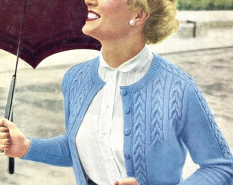 """Wonderful 1950s Cable Cardigan in 4 Volup Sizes 38"""" to 44"""" Bust Marriner's 224 Vintage 1950s Knitting Pattern Download"""