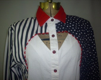 Vintage Ladies Western Blouse // Cotton Stars and Stripes Print //Pinup Peekaboo Cutout // Roughrider M