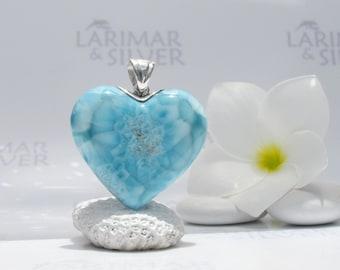 Larimarandsilver pendant, Mantra of Love - turquoise Larimar heart, love mantra, turtleback, Caribbean turquoise, handmade Larimar pendant