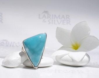 Larimarandsilver ring size 8.75, Caribbean Sail, turquoise Larimar triangle, turtleback, blue triangle, cocktail ring, handmade Larimar ring