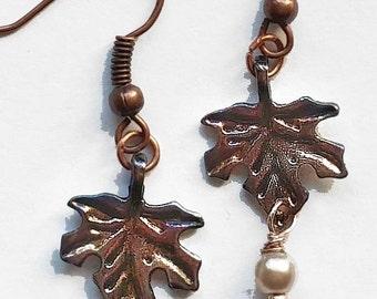 Delicate Oak Leaf Earrings