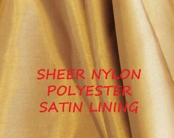 1 YARD, Champagne Gold, Sheer Satin Lining, Wide Fashion Fabric, Lightweight Polyester Nylon, B19
