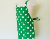 Childrens Apron -Gorgeous Emerald Green Polka Dot Retro Apron, boy or girl apron..great color for St. Patricks Day, fun to cook an create in