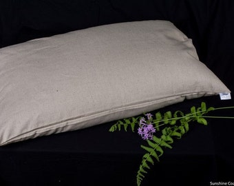 "Organic Hemp Covered Buckwheat Soba Gara Makura Style Small Pillow 21"" X 15"""