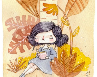 Golden Afternoon - A5 Print - garden girl reading book literature solitude content warmth happy