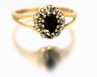 Vintage Ladies Diamond Sapphire Cluster Ring Engagement Yellow Gold 9ct 9k | FREE SHIPPING | Size O.5 / 7.5