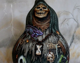 "The Swamp Ghoul, Halloween, creepy, hand painted, gourd art, 11"" tall"