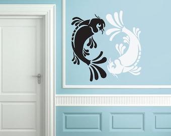 Wall Decal, Large Koi Yin Yang Decor
