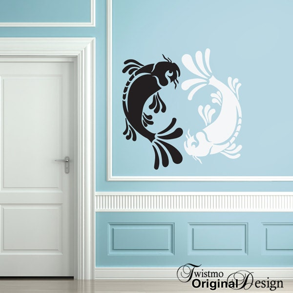 Wall decal large koi yin yang decor for Decoration murale yin yang