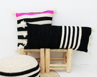 Moroccan POM POM Wool Pillow Cover - Long in black with white stripes