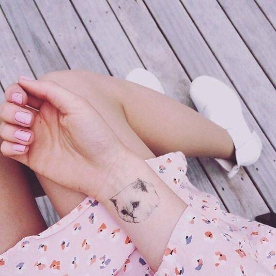 "Temporary ""Cat Tatts"" Tattoos - ONE single cool fake cat tatts quick cattoos waterproof non toxic tats for kids Grumpy kitty festival fun"