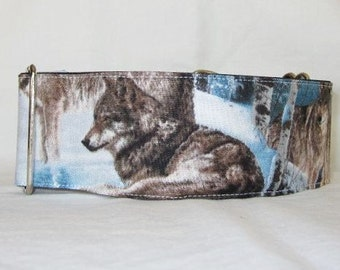 Snow Wolves Martingale Dog Collar - 2 Inch - winter snow wild animal hunter wolf wolfpack