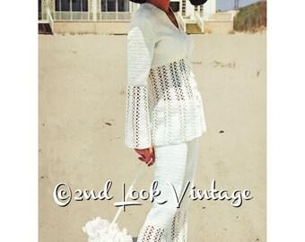 Vintage 1970s Crochet Pattern Sexy Pant Suit Jacket 1970s Digital Download PDF