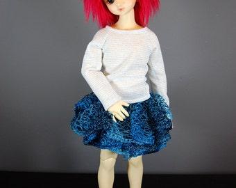 Unoa / MSD Skirt Crochet in Blue for Mini / Slim Mini BJD, Blue Skirt for Mini Super Dollfie BJD