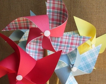 Paper Pinwheels Birthday Favors 8 Pinwheels Birthday Gingham Plaid Party Favors Baby Shower Favors Table Centerpiece Wedding Decoration