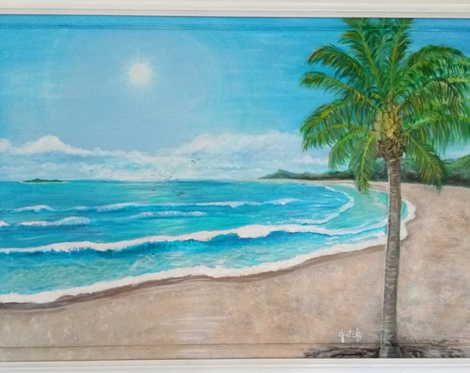 Tropical Ocean Beach Original Painting