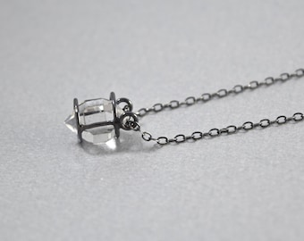 Herkimer Diamond Necklace - Caged, Double Pointed Crystal Quartz- Oxidized Sterling Silver- Medium Crystal C