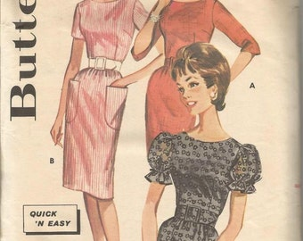 1960s Sheath Slim Wiggle Dress Sleeve Variations  Quick & Easy Butterick 2171 Size 12 Bust 32 Women's Vintage Sewing Pattern