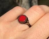 size 6.5 , 6 1/2 - red Czech Glass antique brass gold wire wrap ring - simple bohemian fun unisex men women boy girl jewelry
