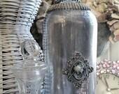 Mercury Glass Cameo Rhinestone Crown Bottle Boudoir Decor