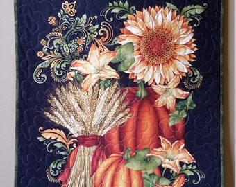 Autumn Wallhanging, Handmade Quilted Fall Door Banner,  Pumpkins and Flowers, Fall Quilt,  Quiltsy Handmade