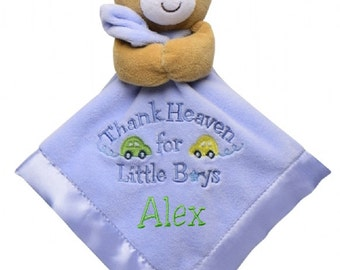 "Personalized Snuggle Blanket & Rattle 14"" ""Thank Heaven for Little Boys"" Bear"