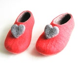 Red Heart Felted Slippers Red Charcoal, Warmest Love Wool Slippers Love Gift For Her, Women Slippers, Just for Her, Valentines Day Gift
