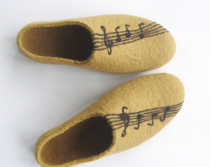 Womens Wool Slippers, Music Fan Gifts, Music teacher Gift, Opera Gifts, Piano Gifts Ideas, Felted Slippers, Rubber Soles, Music Shoes