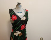 Dress maxi black red graphic floral poppies gown 1960s MOD stretch vintage XL