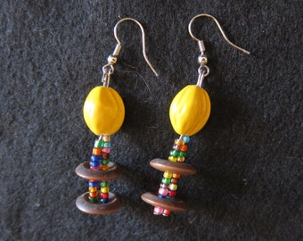 Vintage Button and Yellow Seed-Bead Earrings