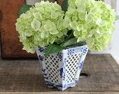 vintage blue and white porcelain vase