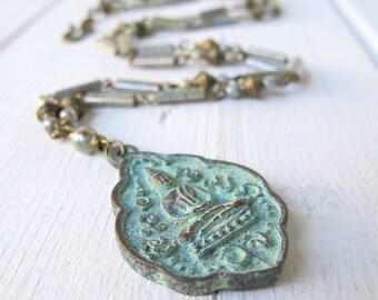 Patina Buddha Necklace, Long Bohemian Necklace, Bohemian Jewelry, Boho Bijoux, Czech Glass Jewelry, Boho Chic Necklace, Hippie Jewellery