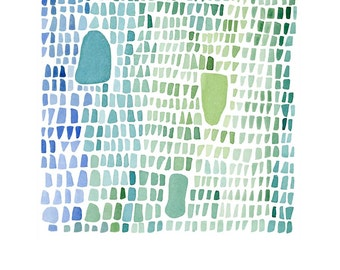 under 25, Sea glass abstract art print watercolor print  blue green  archival print,  watercolor painting