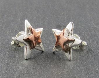 Silver & Copper Star Stud Earrings