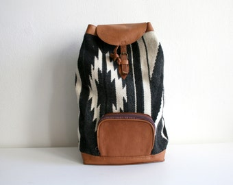 SALE Black White Navajo Woven Backpack
