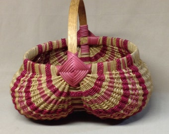 Large, Round Hand Woven Egg Basket with Pink Accent Weaving