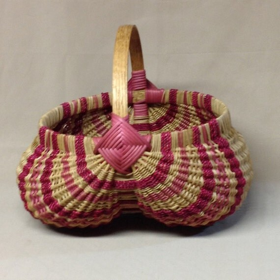 Large Round Hand Woven Egg Basket With Pink Accent Weaving