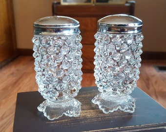 Fenton Hobnail Salt and Pepper Shakers - Clear Glass - Oak Hill Vintage