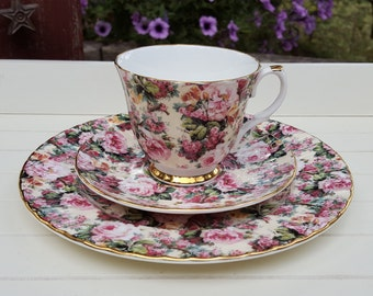 Tea Cup Saucer and Plate E & R Golden Crown made in England - Oak Hill Vintage
