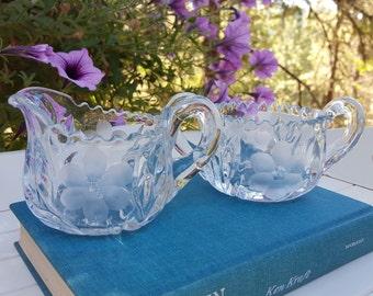 Victorian Crystal Cream and Sugar Set - Flower Star - Oak Hill Vintage