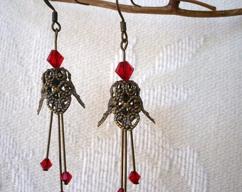 Brass Fairy Bell earrings with Red Crystals