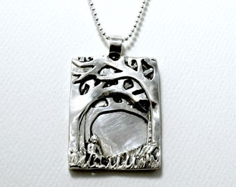 Nalla Loves Nature - Sterling Silver And PMC - Women - Nature - Strength - Empowerment - Echo Friendly - Forest Art Jewelry Pendant - 1954