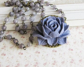 Purple beaded flower necklace - vintage style jewelry - bronze necklace - for her - romantic jewelry - Europe