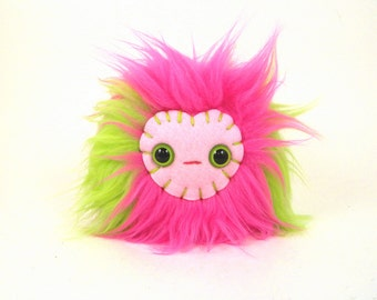 Stuffed Monster Toy Hot Pink and Lime Tween Toy Fabric Toy Ball Small Stuffed Monster Kawaii Plush Monster Juggling Ball