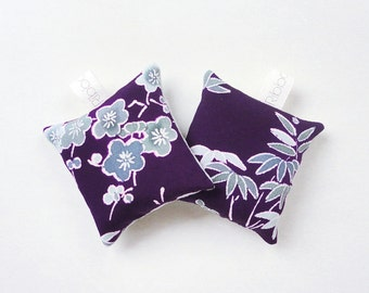 Set of Two Purple Silk Lavender Sachets Bags in Floral Blossom Pattern Vintage Japanese kimono Fabric
