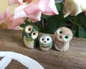 RESERVED for MICHELE McFarlane- 2 curious owls & a mint pygmy owl: Harry Potter Inspired Owlery Clay Miniatures and Totems