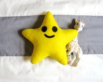 Yellow Star Felt Plush / Twinkle Twinkle Little Star / Baby Space Nursery Decor / Star Shaped Toy / Kids Night Sky Bedroom Throw Pillow