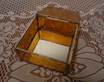 Vintage Glass and Mirror Trinket Box  -  Stained Glass Jewelry Box  -  16-149